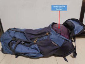 Backpack Sleeping Bag Section