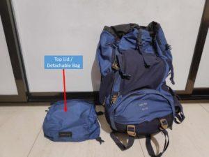 Backpack Top Lid/Detachable Bag